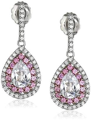 Sterling Silver Created Sapphire with Rose Gold Plating and Created White Sapphire Pear Shape Drop Earrings