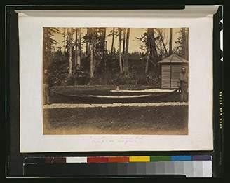 Columbia HistoricalFindings Photo: Photo,Small Northern Canoe,Vancouver Island,douglas firs,1859,British