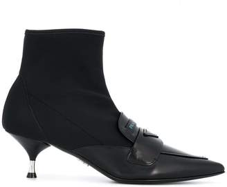 Prada loafer detail ankle boots