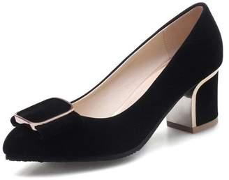 d5b4a5f906b1 Mofri Women s Dressy Faux Suede Buckle Low Cut OL Work Shoes Medium Block  Heel Slip on