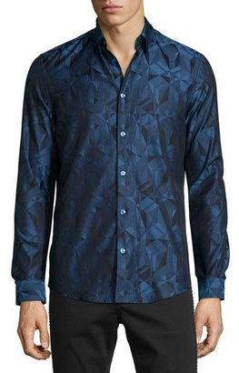 Versace Collection Grecca Geo-Print Woven Sport Shirt, Navy $475 thestylecure.com