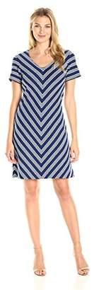 Lark & Ro Women's Short Sleeve V Neck Shift Dress