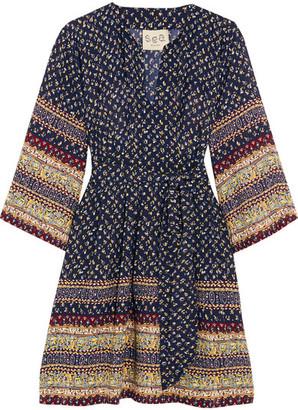 SEA - Printed Silk Mini Dress - Navy $425 thestylecure.com