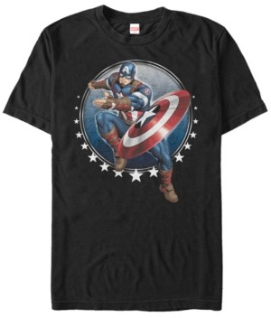 Marvel Men's Comic Collection Captain America Tossing Shield Short Sleeve T-Shirt