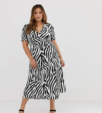 a3cbb33511 Asos DESIGN Curve animal print midi tea dress