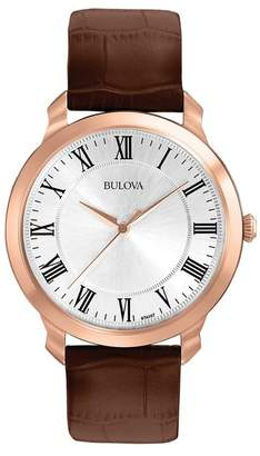 Bulova Men's Croc Embossed Leather Strap Watch, 41mm