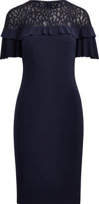 Ralph Lauren Lace-Yoke Ruffled Dress