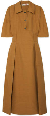 Marni Gathered Canvas Midi Dress - Brown