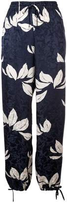 Warm floral pattern track trousers