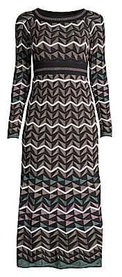 M Missoni Women's Zigzag Chevron Knit Midi Dress