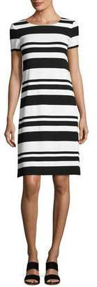 Lafayette 148 New York Short-Sleeve T-Shirt Striped Dress, Black/Multi