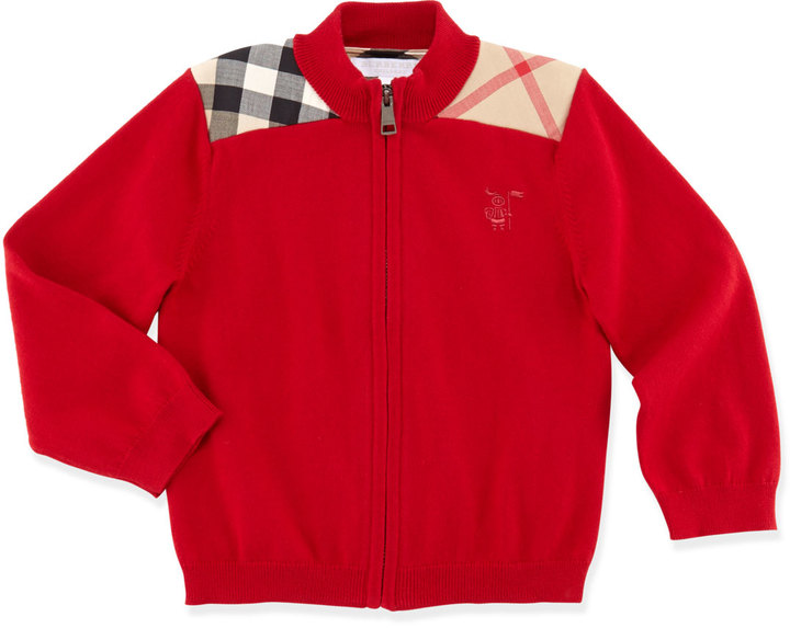 Burberry Zip-Front Sweater, Military Red