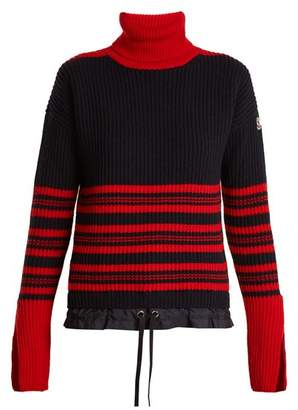 Moncler Roll Neck Striped Ribbed Knit Wool Blend Sweater - Womens - Navy Multi