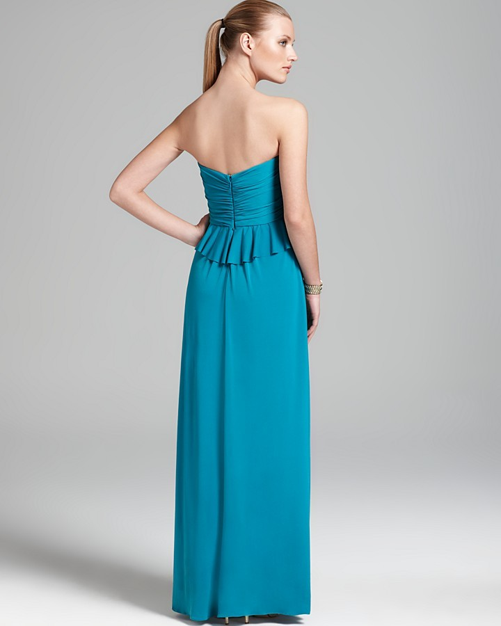 Amsale Jersey Dress - Strapless Ruched Bodice