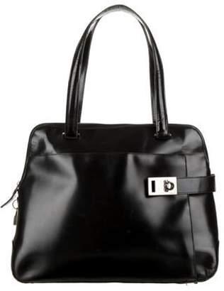 Salvatore Ferragamo Leather Gancio Shoulder Bag Black Leather Gancio Shoulder Bag