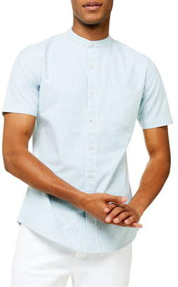 Topman Grandad Oxford Stripe Slim Fit Short Sleeve Button-Up Shirt