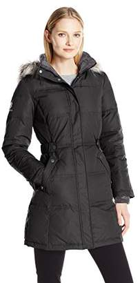 "Free Country Women's 34"" Hooded Down. Adjustable Waist Detail"