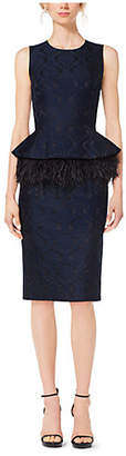 Michael Kors Feather-Embroidered Peplum Damask Jacquard Dress