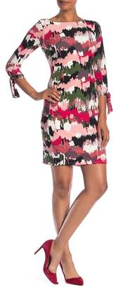 Nine West 3\u002F4 Sleeve Print Dress