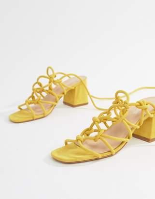 Public Desire Freya Yellow Mid Block Heeled Sandals