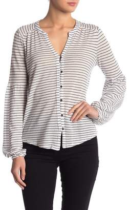Lucky Brand Striped Button Front Puff Sleeve Top
