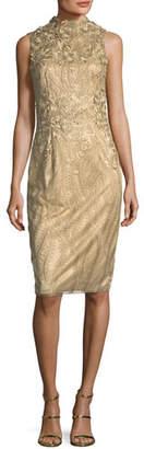David Meister Sleeveless Metallic Cocktail Sheath Dress w/ 3D Floral Appliqué
