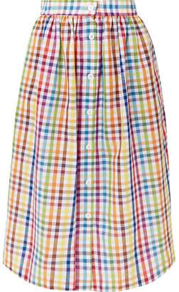 MDS Stripes Gingham Cotton Midi Skirt - Yellow