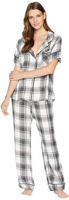 Plush Ultra Soft Short Sleeve + Pants Plaid PJ Set Women's Pajama Sets