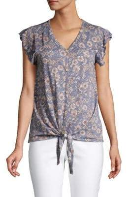 Cupio Abstract-Print Cotton Blend Top