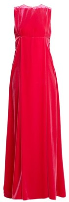 Valentino Cut Out Sleeveless Velvet Gown - Womens - Pink