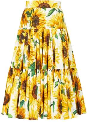 Dolce & Gabbana Sunflower Print Tiered Cotton Poplin Midi Skirt - Womens - Yellow Multi