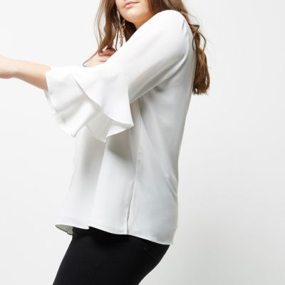 River IslandRiver Island Womens Plus white double bell sleeve top