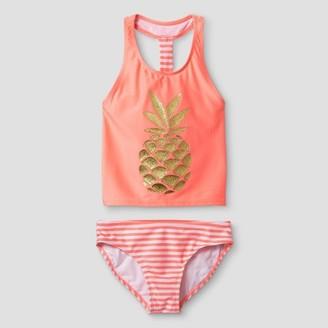 Cat & Jack Girls' Tankini Sparkle Pineapple Cat & Jack - Coral $14.99 thestylecure.com