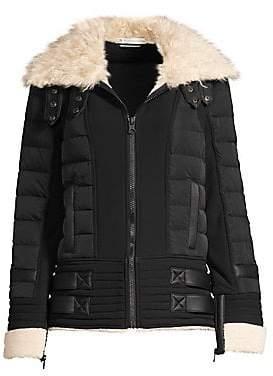 Blanc Noir Women's Moto Aviator Faux-Fur Collar Down Puffer Jacket