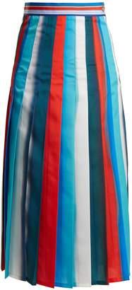 Stella Jean Pleated striped crepe midi skirt