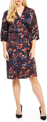 Maggy London Floral-Print V-Neck Wrap Dress
