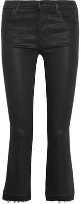 J Brand - Selena Cropped Coated Mid-rise Bootcut Jeans - Black $230 thestylecure.com