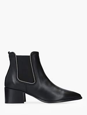 Carvela Spire Block Heel Studded Ankle Boots, Black Leather