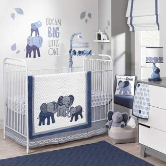Lambs & Ivy 3-pc. Indigo Elephants Crib Bedding Set