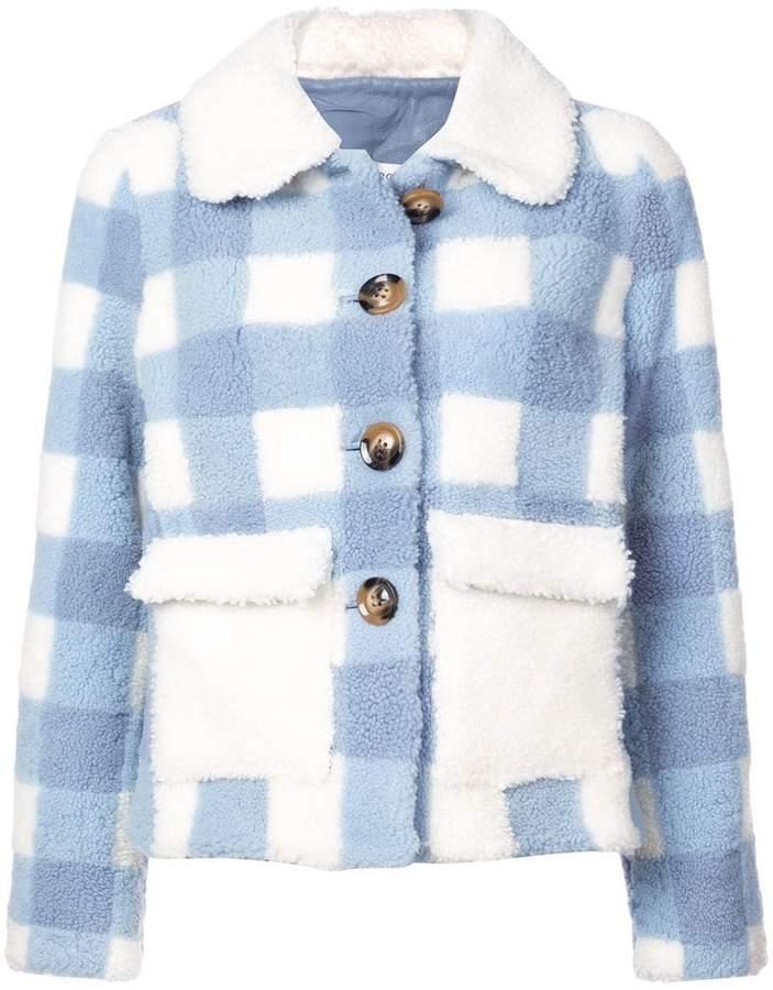 Saks Potts checked shearling jacket