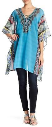 Natural Impressions Embellished Print Front Tie Kaftan