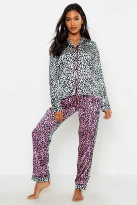 boohoo Ombre Leopard Satin PJ Set