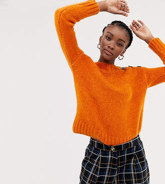 New Look button detail jumper in orange
