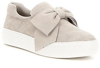 J Slides JSlides Beauty Leather Bow Detail Slip On Flatform Sneakers $135 thestylecure.com