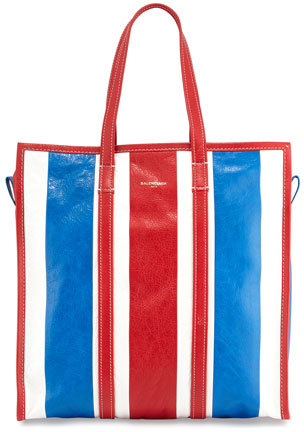 Balenciaga  Balenciaga Bazar Medium Striped Leather Shopper Tote Bag
