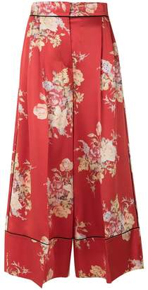 Alexander McQueen cropped floral print palazzo trousers