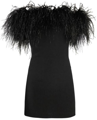 Saint Laurent Off The Shoulder Ostrich Feather Trimmed Dress - Womens - Black