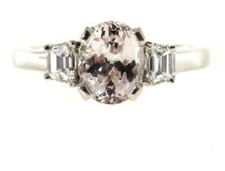 Platinum with Natural Peach Orange 2.22ct Sapphire and Diamond Ring Size 6.75