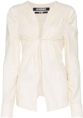 Jacquemus ecru V-neck ruched cotton linen-blend blouse