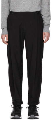 Issey Miyake Black Crushed Poplin Side Pleat Trousers